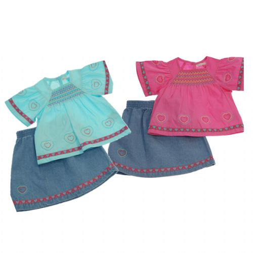 LOVELY GIRLS 2 PIECE DENIM SKIRT SET WITH HEARTS DETAIL